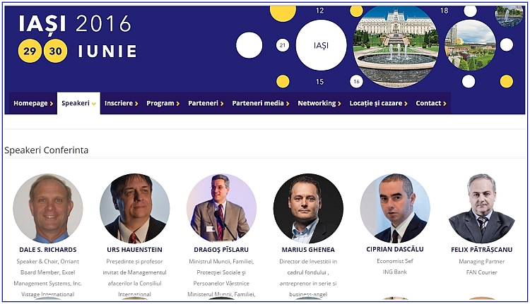 Dale Richards was top billed - main featured speaker at the conference in Iasi, Romania in June 2016